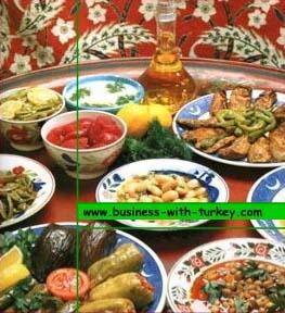 Uma variedade de pratos da rica cozinha Turca